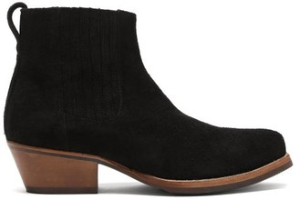 Our Legacy Cuban Textured-suede Heeled Ankle Boots - Black