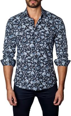 Jared Lang Trim Fit Paisley Button-Up Shirt
