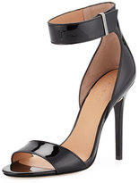 Halston Marley Patent-Leather Sandal, Black Patent