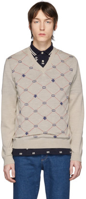 Gucci Off-White Wool GG Bee Sweater