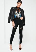 Missguided Black Rebel Highwaisted Thigh Slash Skinny Jeans Black