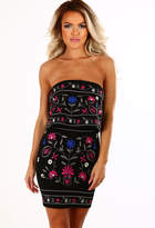 Pink Boutique Stay Cute Black Embroidered Strapless Frill Top Mini Dress