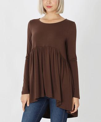 Lydiane Women's Tunics BROWN - Brown Long-Sleeve Peplum Tunic - Women & Plus