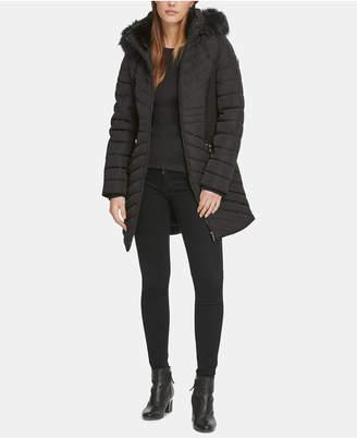 DKNY Hooded Faux-Fur-Trim Puffer Coat