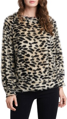 1 STATE Eyelash Cheetah Print Sweater