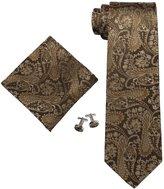 Landisun Paisley Mens Silk Necktie Set: Tie+Hanky+Cufflinks AF40L30 Teal Blues Grey