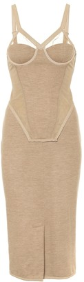 Burberry Cashmere-blend corset midi dress