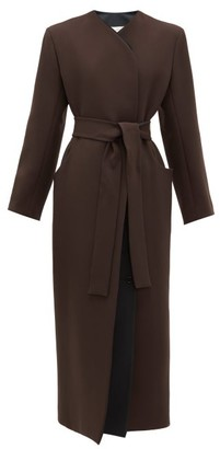 The Row Brie Waist-tie Double-lapel Wool-blend Coat - Dark Brown
