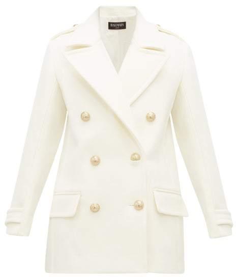 Balmain Double-breasted Wool-felt Pea Coat - Womens - White