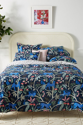 Emily Isabella Midnight Jasmine Duvet Cover By Emily Isabella in Blue Size Q top/bed