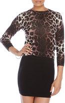 Samantha Sung Cashmere Leopard Print Pullover