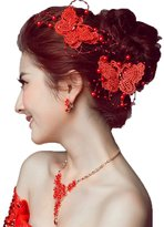 Yxjdress Vintage Lace Butterfly Wedding Hairclips Bridal Fascinators(White/Red)