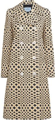 Prada Argyle Pattern Double-Breasted Coat
