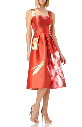 Kay Unger New York Floral-Print Sleeveless Mikado Dress w/ Pockets