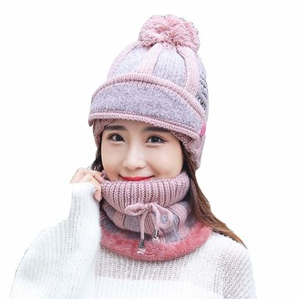 HshDUti Knitte Hat and Scarf Set for Ladies Beanie 3Pieces/Set Women Winter Thick Warm Knitted Face Mask Neck Scarf - Pink