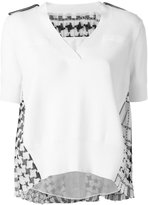Sacai hounds-tooth panel knitted top - women - Cotton/Polyester/Cupro - 2