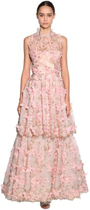 Luisa Beccaria Embroidered Tulle Organza Dress