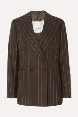Giuliva Heritage Collection Stella Double-breasted Pinstriped Wool Blazer - Brown