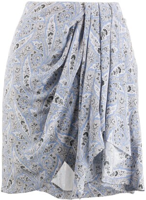 Isabel Marant Paisley Draped Mini Silk Skirt