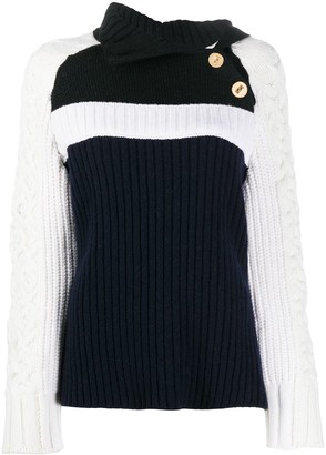 Ports 1961 Contrast Knit Button Detail Jumper