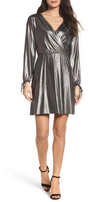 19 Cooper Metallic Faux Wrap Dress