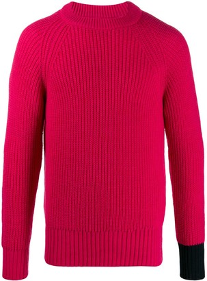 Lc23 Contrast Cuff Knitted Jumper