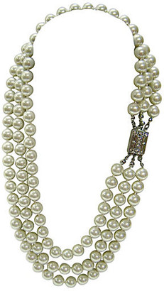 One Kings Lane Vintage 1970s Triple-Strand Glass Pearl Necklace - Wisteria Antiques Etc - silver/clear/white