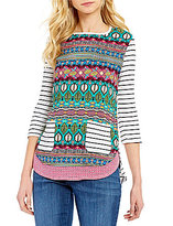 Westbound 3/4 Sleeve Multi Media Button Sleeve Top