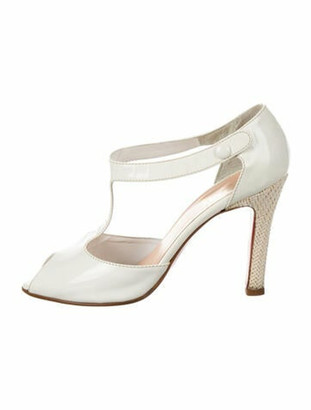 Christian Louboutin Patent Leather T-Strap Sandals White