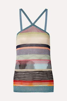 Missoni Striped Metallic Crochet-knit Top - Blue