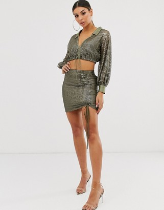 Asos DESIGN sequin mini skirt co-ord with channel detail