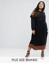Elvi Contrast Pleated Skirt
