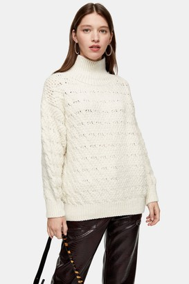 Topshop Womens Ivory Textured Funnel Neck Jumper - Ivory