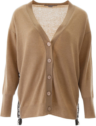 Stella McCartney CARDIGAN WITH LOGO BANDS 38 Beige, Black, White Wool