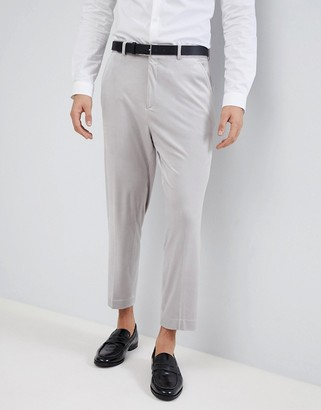 Asos Design ASOS Tapered Smart Trousers In Ice Grey Velvet