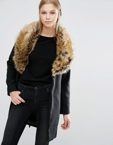 Vila Faux Fur Collar Coat