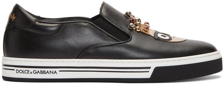 Dolce & Gabbana Black King Designers Slip-on Sneakers