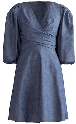 Shoshanna Kiora Chambray Puff-Sleeve Dress