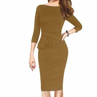 Kolila Women Dress kolila Elegant Round Neck Ruffle Short Sleeves Wear to Work Business Office Sheath Dress Casual Half Sleeve (Khaki XXL)