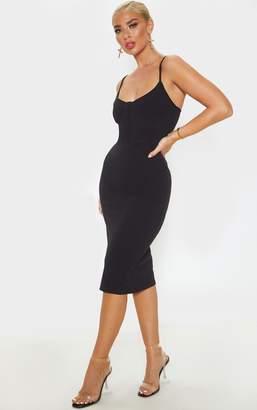 PrettyLittleThing Black Strappy Binding Bodice Detail Midi Dress