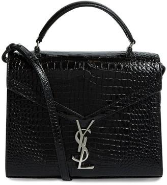 Saint Laurent Medium Croc-Embossed Cassandra Top Handle Bag