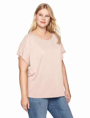 Calvin Klein Women's Plus Size Short Sleeve Top with Pearl Detail