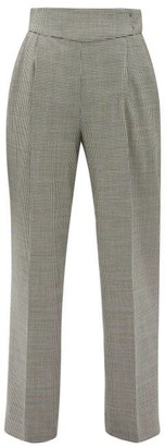 MSGM Houndstooth Wool-blend Straight-leg Trousers - Womens - Black White