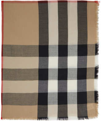 Burberry Beige Lightweight Cashmere Check Scarf
