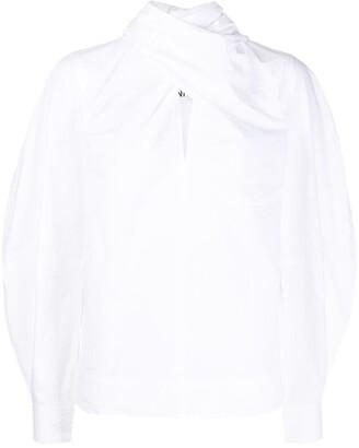 Ganni Twist-Detail Long-Sleeve Blouse