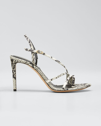 Nicholas Kirkwood Elements 85mm Snake-Print Toe-Loop Sandals