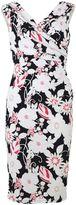 Gina Bacconi Navy cerise 3d floral jersey dress