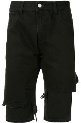 Raf Simons Distressed Double-Layer Denim Shorts