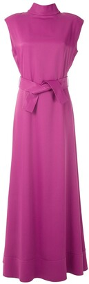 Gloria Coelho Tie Waist Long Dress