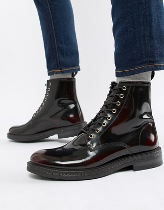 Walk London Wolf lace up boots in high shine burgundy-Red